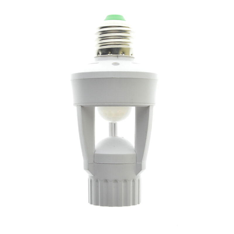 1Pcs AC110V 220V PIR Infrared Motion Sensor E27 Led Light Lamp Base Holder Bulb Socket 360 Degrees Detection Day & Night 2 Modes e27 led pir motion sensor lamp holder ac 180 240v