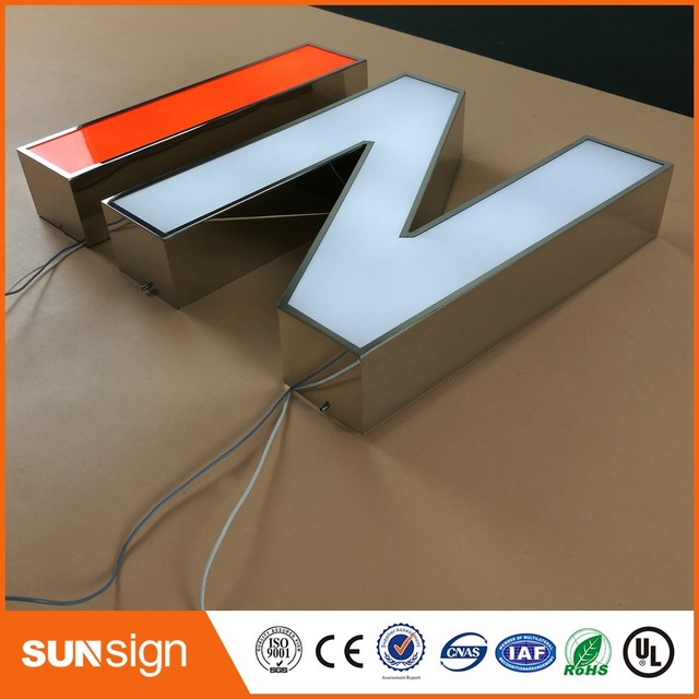 Custom Outdoor stainless steel channel letters sign with LED lighting