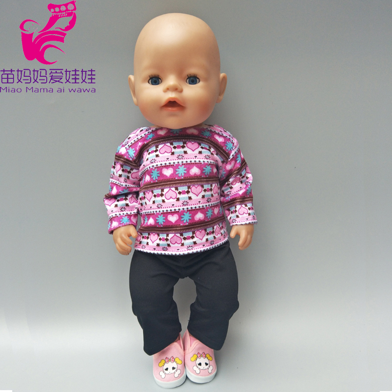 Zapf Baby Born Doll winter Fleece clothes and black pants for 18 inch Doll outfit Children girl Gifts
