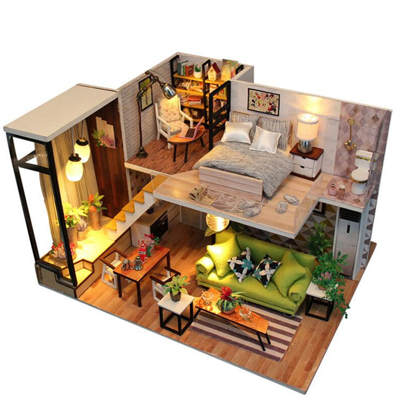 DIY Doll House Toy casa Wooden Miniatura room box Doll Houses Miniature Dollhouse toys With Furniture LED Lights poppenhuis assemble diy doll house toy wooden miniatura doll houses miniature dollhouse toys with furniture led lights birthday gift