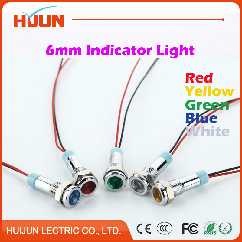 1pcs 6mm Waterproof Metal Flat Round Indicator LED Lamp Signal Pilot Light Colourful Red Yellow Blue Green White dc 12v pt1 16 thread red pilot lamps indicator signal light 5pcs