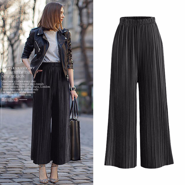 95f595f05e9 Spring Autumn New Arrival Women Pleated High Waist Wide Leg Pants Plus Size  L-5XL Solid Elastic Loose Velour Fashion Casual
