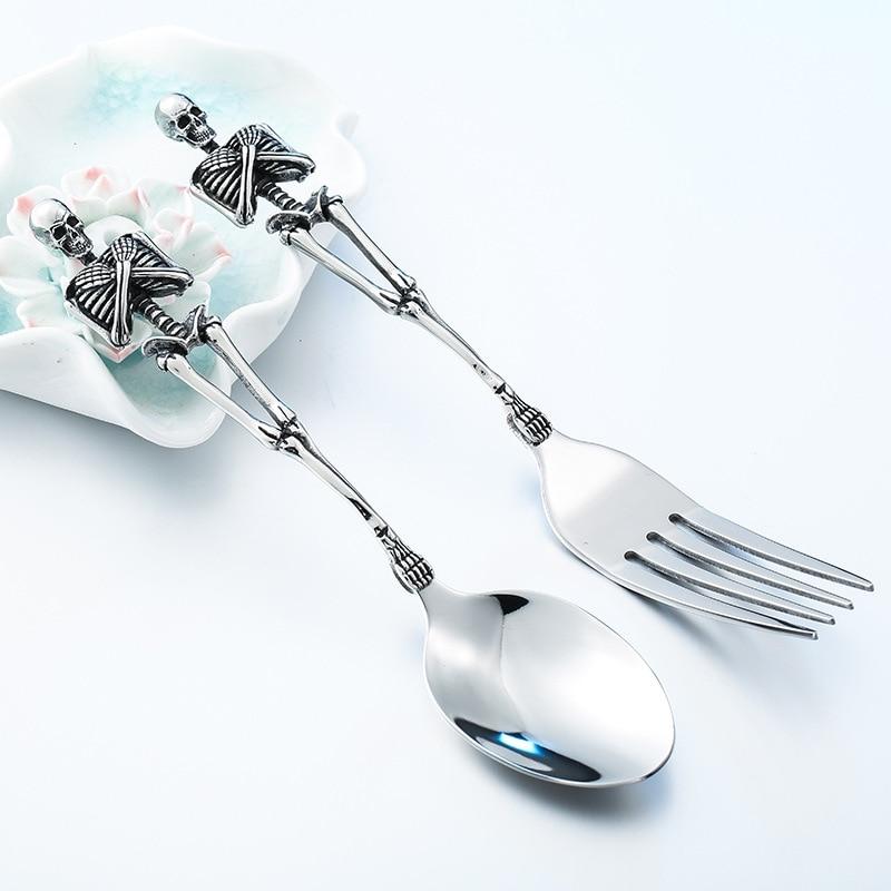 Unique Stainless Steel Skeletons Cutlery Skeleton Fork Spoon Skull Halloween Tableware Family Party Gift Metal Flatware Set
