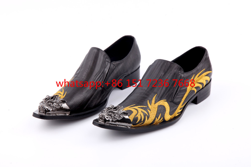 2017 new arrival genuine leather pointed toe slip on metal tip men dress shoes evening party wedding flat plus size Us12 size 46