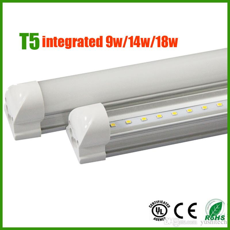 Fedex Free Shipping T5 LED Integrated Strip 18W 14W 9W 2/3/4 FT LED Tube light Epistar SMD2835 AC85-265V UL&CE Listed