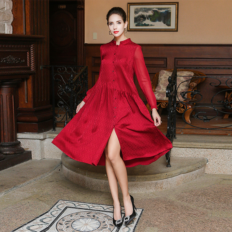 VOA 2018 Autumn New Chinese Red Silk Jacquard Simple Shirt Dress Plus Size Brief Casual High Quality Women Dresses ALA01201 in Dresses from Women 39 s Clothing