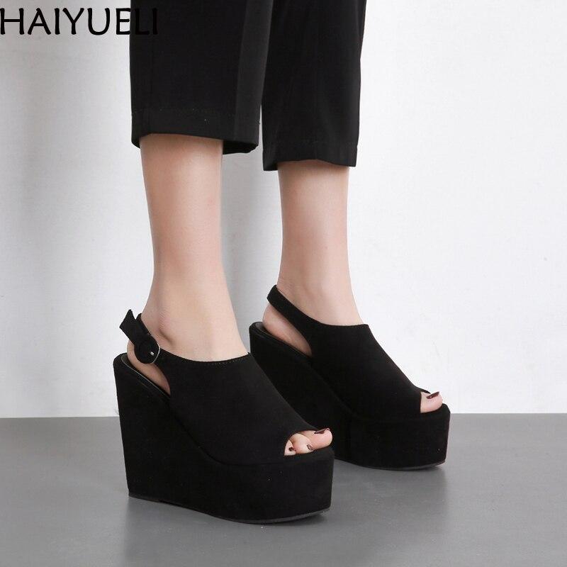Fashion Womens Wedge Platform Sandals Summer Black Sandal Heels Women Shoes Wedges Sandalias Mujer 2018 Plataforma 13CM wedge sandals summer women sandals
