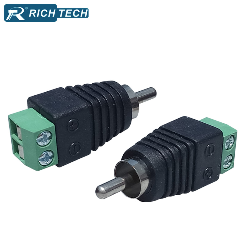 RCA Connector 2 poles CCTV Camera Phono RCA Male Plug to AV Balun Terminal Video Adapter  TV/CCTV RCA Wire Connector купить