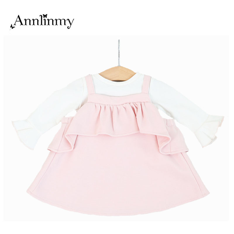 2018 spring autumn newborn girl dresses t shirt +strap dress 2pcs baby girls clothes set flounced children dress suit infantil 2pcs children outfit clothes kids baby girl off shoulder cotton ruffled sleeve tops striped t shirt blue denim jeans sunsuit set
