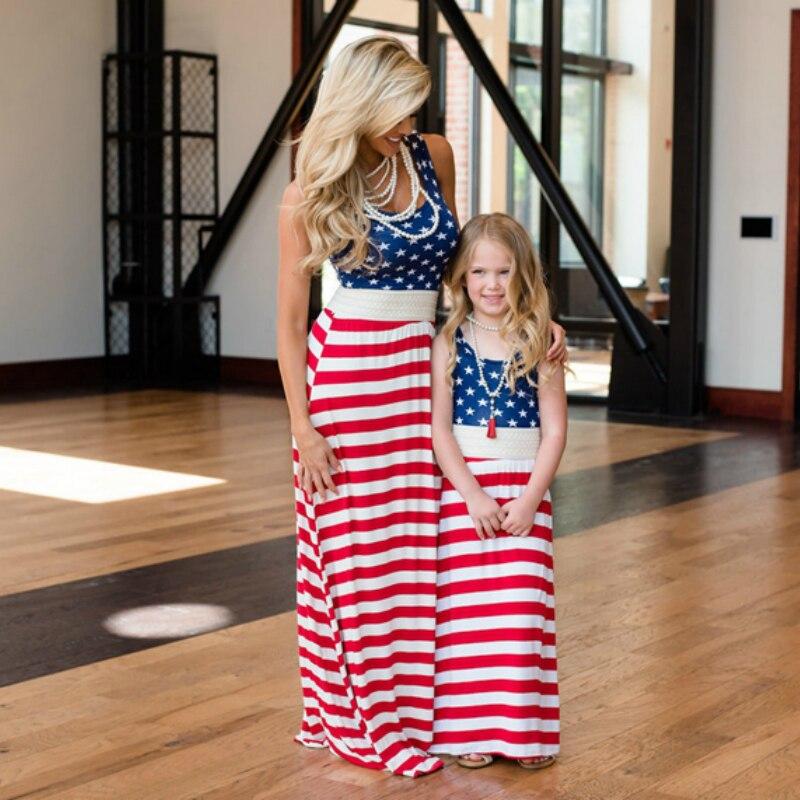 2018 sommer Stil Mama und My Fashion Sterne und Streifen Ärmellose Mutter und Tochter Kleidung Familie Passenden Outfits Kleid