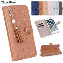 Luxo oco caso da aleta de couro para o iphone x 8 7 6s plus xs max xr bonito estrela mês magnética carteira 360 capa livro borla pérola