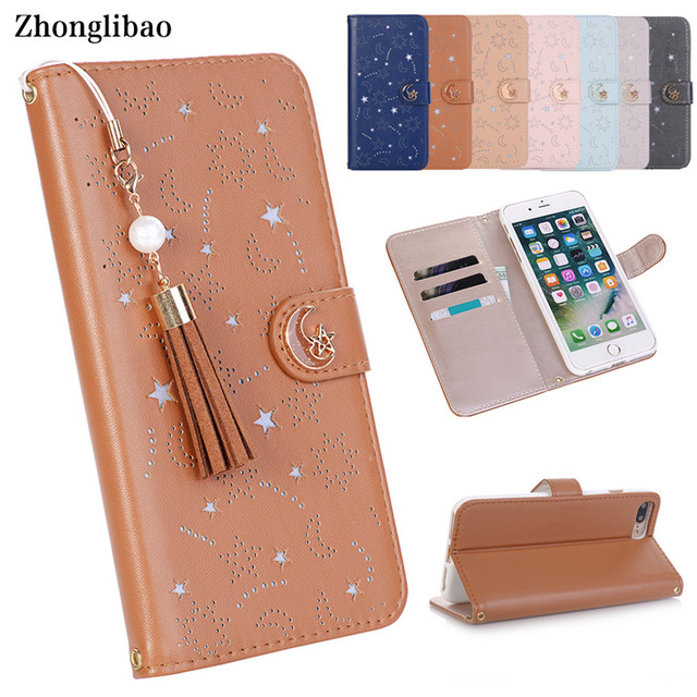 Luxury Hollow Leather Flip Case for Iphone X 8 7 6 6S Plus Xs Max Xr Cute Star Month Magnetic Wallet 360 Book Cover Tassel Pearl