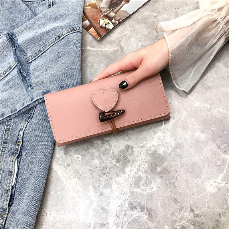 HUANILAI Yeni Kadın Cüzdan Çantalar PU Deri uzun cüzdan Bayanlar Para Para Cebi kart tutucu Kadın Cüzdan Kalp QJ01