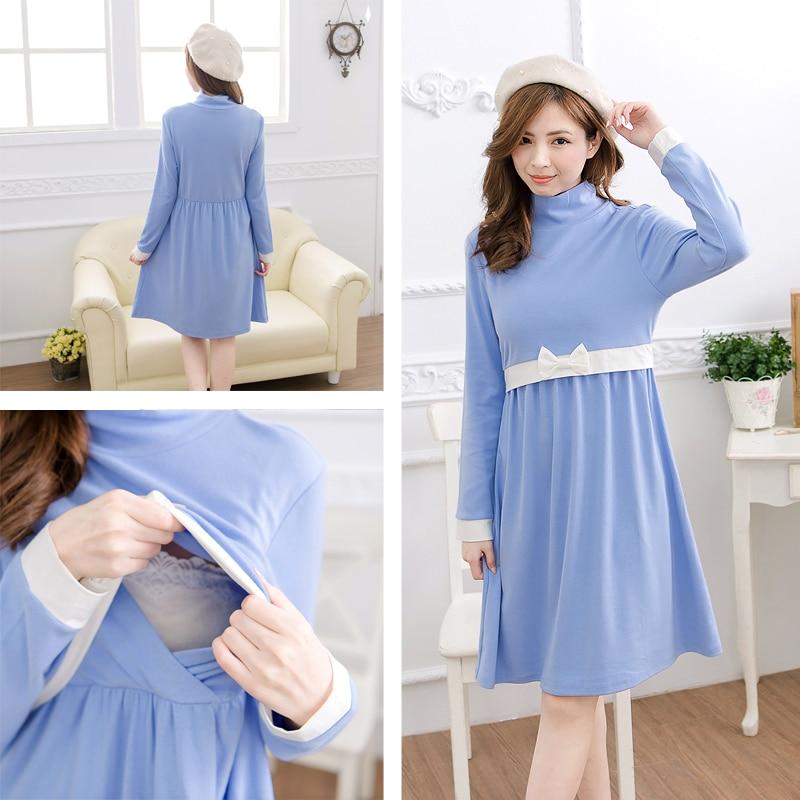 Maternity Nursing Dress Antumn & Winter Long Sleeves Breastfeeding Nursing Dress