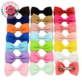 20 Pcs/lot Small Bowknot Hairgrips Mini Sweet Baby Girls Solid Ribbow Bow Safety Hair Clips Kids Hairpins 643