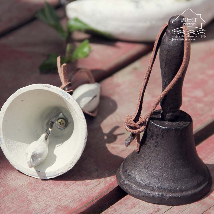 Hand Cast Iron Hand Bell Country Retro Bell Bar Restaurant Coffee Door Hand Bell Museum Ornament Decoration ...