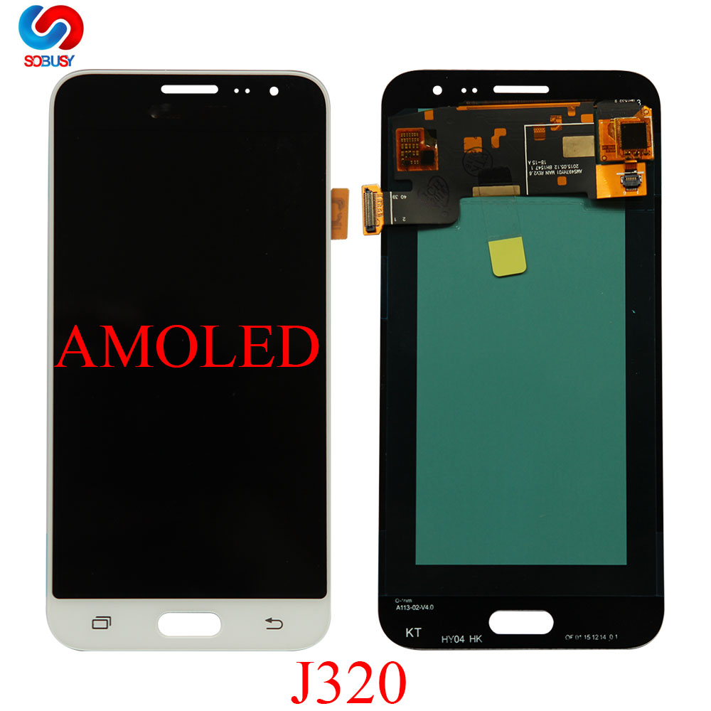 100% Super AMOLED <font><b>LCD</b></font> For <font><b>Samsung</b></font> Galaxy J3 2016 J320 J320F J320H J320M <font><b>J320FN</b></font> LCDs Display With Touch Screen Digitizer Assembly image