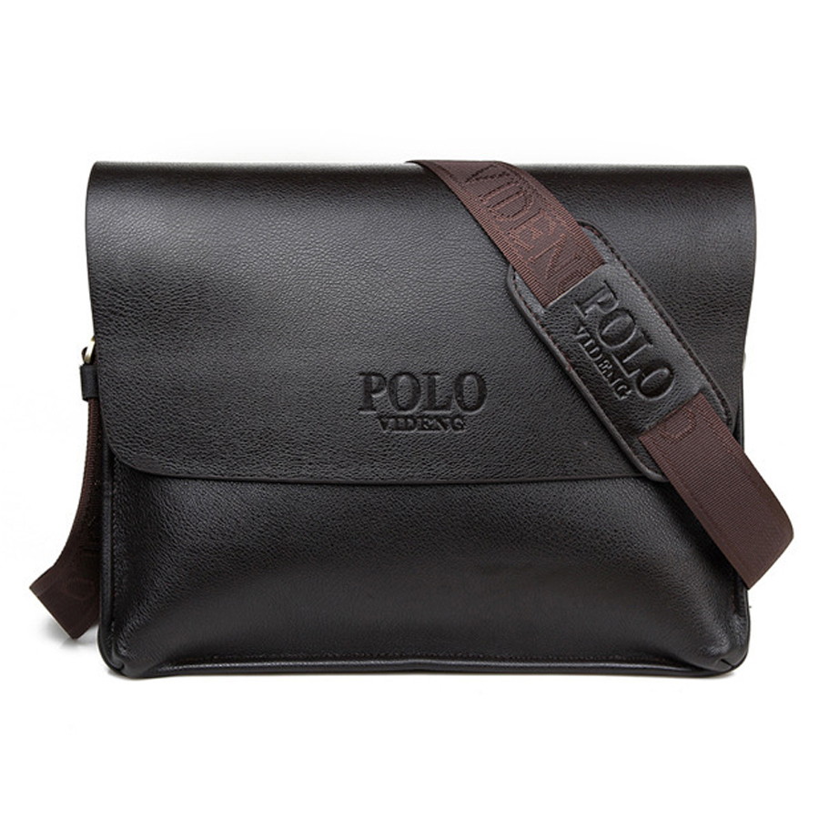 VIDENG POLO leather men messenger bags business vintage shoulder Laptop bag black high quality men crossbody bags free shipping