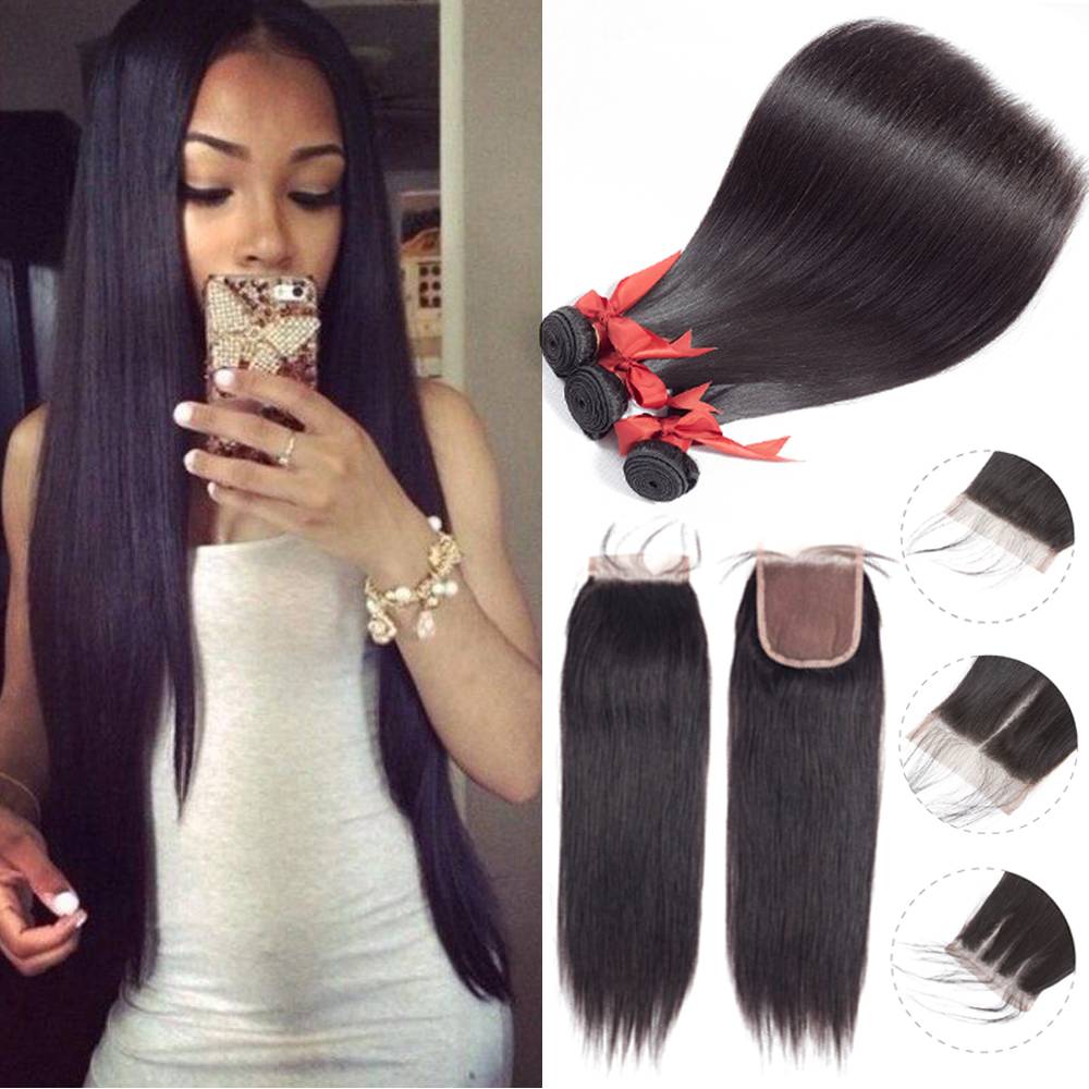 Beaudiva Brazilian Hair weave Straight Human Hair 2/3 Bundles With Closure 100% Human Hair Bundles With Closure Hair Extension