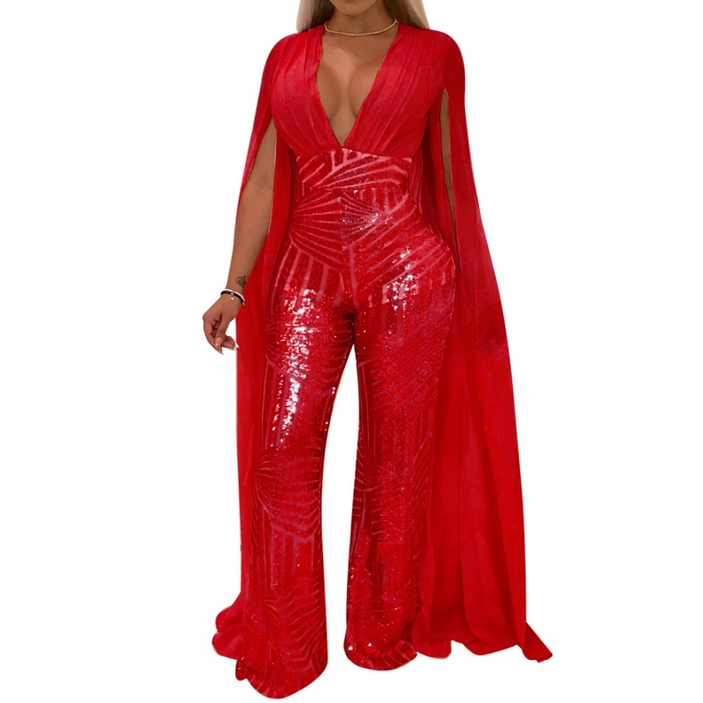 Sequined Patchwork Jumpsuit Women Sexy Deep V Neck Long Sleeve Elegant Rompers Ladies Party Evening Night Club Outfit Playsuit