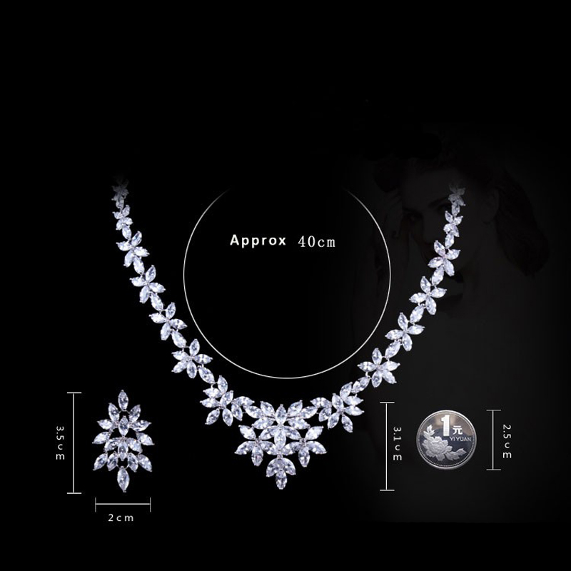 Image 5 - WEIMANJINGDIAN White Gold Color Plated Cubic Zirconia Floral  Design Zircon CZ Necklace