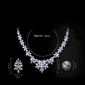 Image 5 - WEIMANJINGDIAN White Gold Plated Zirconia Bloemen Ontwerp Zirkoon CZ Ketting & Earring Huwelijk Bruids Sieraden Sets