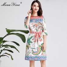 MoaaYina Fashion Designer Runway dress Spring Summer Women Dress Half sleeve Floral-Print Holiday Dresses