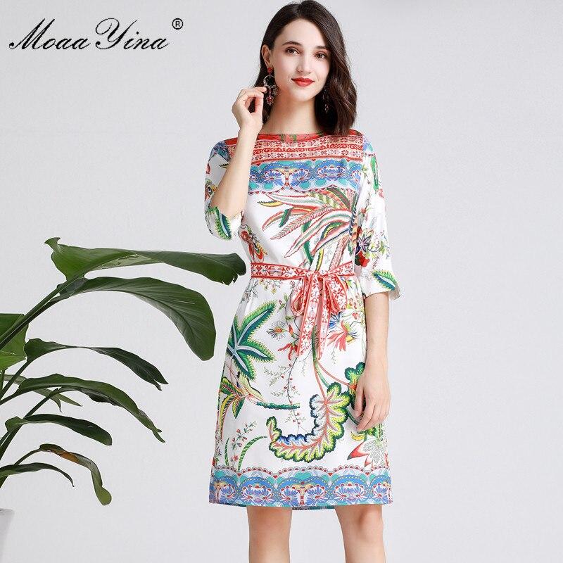MoaaYina moda diseñador pasarela vestido Primavera Verano mujeres vestido media manga Floral Estampado vacaciones vestidos-in Vestidos from Ropa de mujer    1