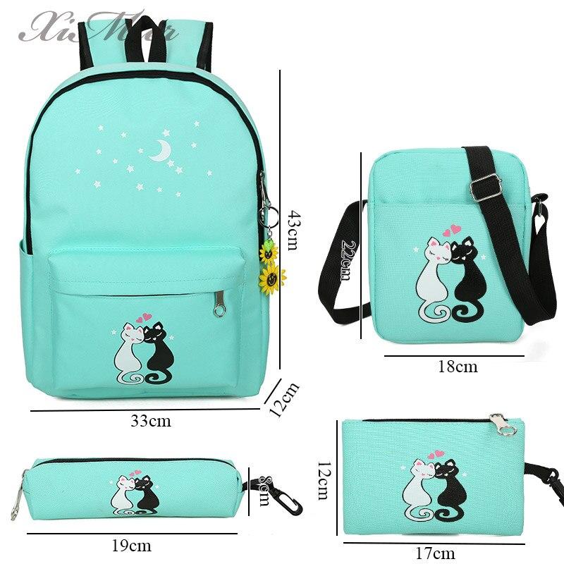 gato bolsa de escola mochila Técnica : Canvas Backpack