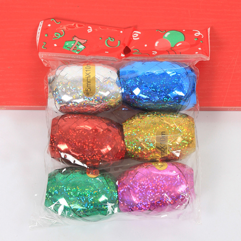 6pcs/lot 10m Diy Sparkling Foil Balloon Ribbon Rope Strap Wedding Party Decor Children Kids Birthday Decoration Balloons Rope Event & Party