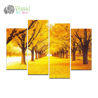 Non Framed Canvas Only Autumn Forest Huge Wall Mural Art Gold Tree Leaves Painting Printed On