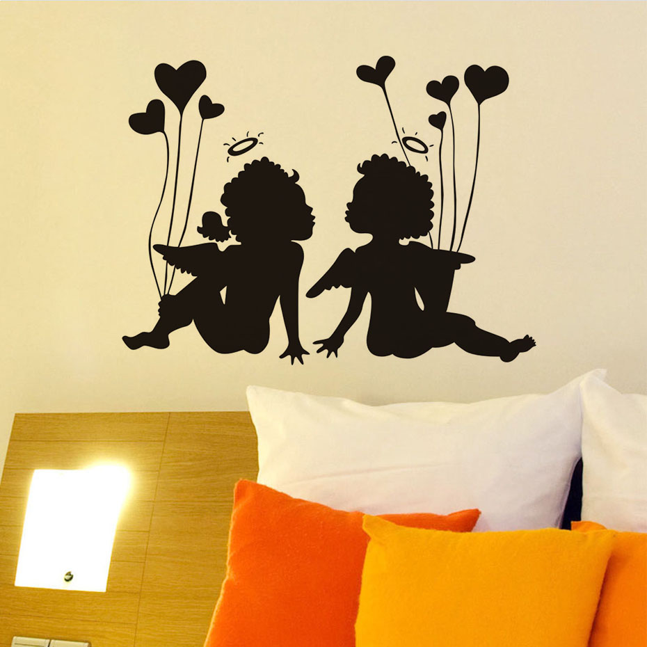 New Arrival Kissing Angels With Heart Wall Stickers Pink Love ...