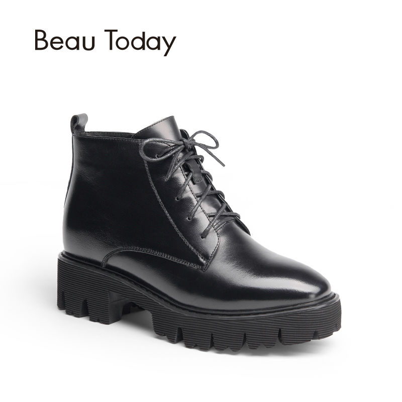 BEAUTODAY Genuine Leather Boots Women Ankle Length Lace Up Zipper Round Toe Fashion Handmade Ladies Shoes Chic 05311 front lace up casual ankle boots autumn vintage brown new booties flat genuine leather suede shoes round toe fall female fashion