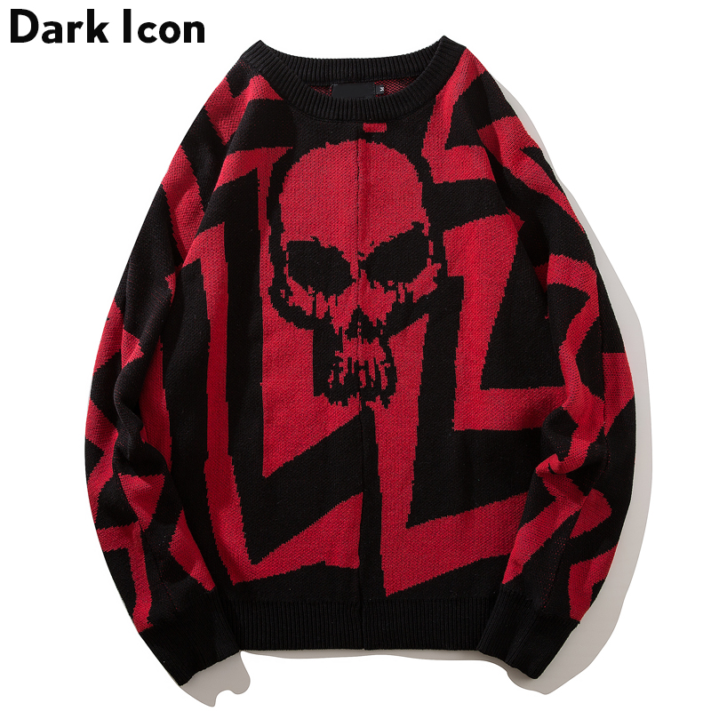 DARK ICON Round Neck Loose Style Skull Sweater Men 2019 Winter High Street Oversized Men's Sweater Black White