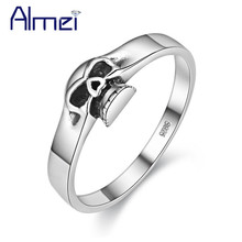 Almei 40% Halloween Vintage 925 Sterling Silver Black Skull Rings For Women Men Skeleton Ring Mens Jewelery Dropshipping ZY001