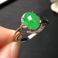 Fine Jewelry Collection Real 18K White Gold AU750 100% Natural Burmes Jadi Green Jade Gemstone Rings Burma Origin for Women Gift
