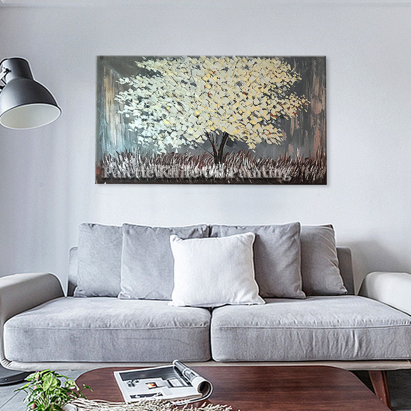 Painting of Modern Hand Painted palette knife 3D texture Flower Tree - Home Decor - Photo 4