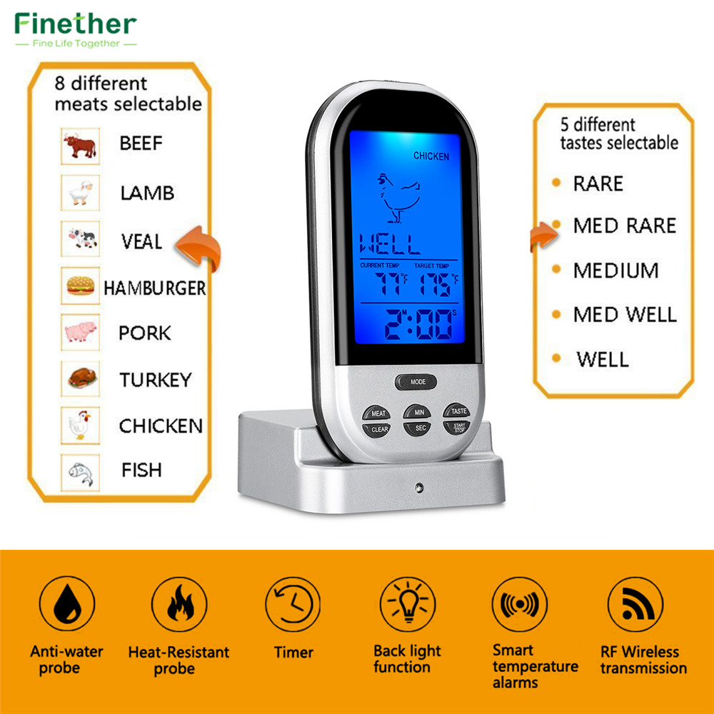 Wireless Food Cooking Thermometer LCD Barbecue Timer Digital Probe Meat Thermometer BBQ Temperature Gauge Kitchen Cooking Tools6