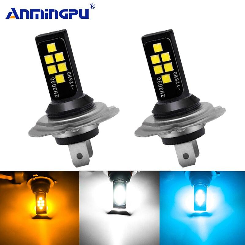 Anmingpu H11 Led Car Fog Lamp H1 H3 Led H7 9005 HB3 9006 HB4 H9 H8 Led Canbus 3030SMD 3000K 6000K 8000K Car Led Fog Light Bulb