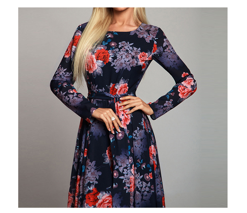 Vintage Boho Flowers Printed Long Dress