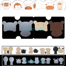 1pcs DIY Cute Animal Head Design Leather Card Holder Wallet Sewing Pattern Bus\Work Sets PVC Handmade Gift  Brown Bear