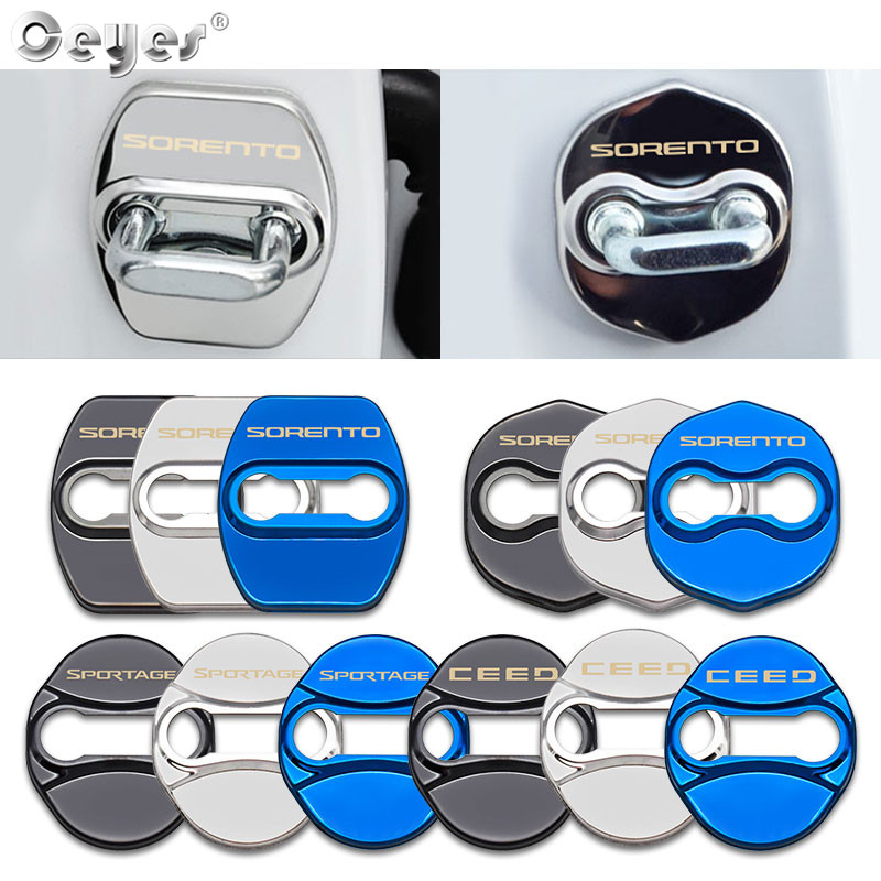 Ceyes Door Lock Cover Fit For KIA Sportage Ceed Sorento Stainless Steel Stickers Accessories Car Styling Auto Emblem Protection