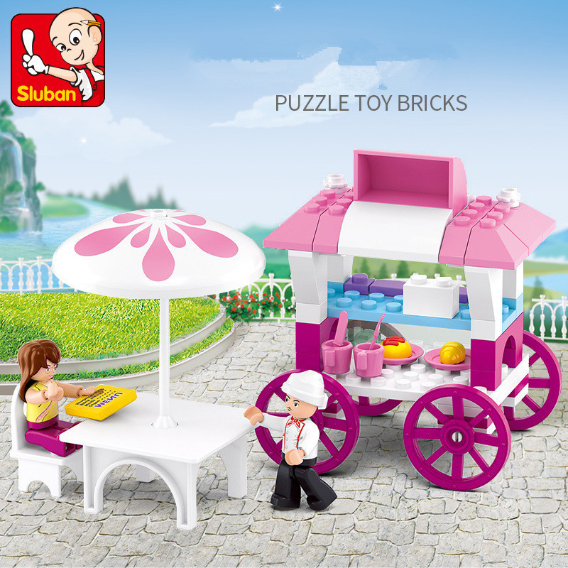 Sluban Pink Dream B0601 Sailboard Sandbeach Girl Tower 3d Model Diy Building Blocks Bricks Assembly Toy Fit Legoings No Box Cheap Sales Model Building