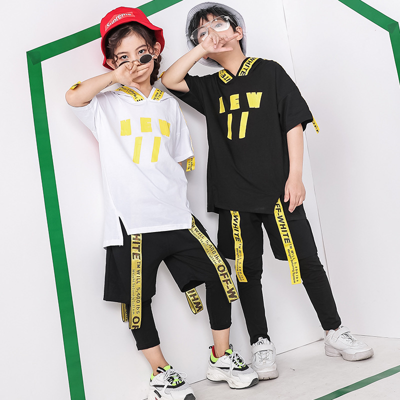 Kids Jazz Clothes Children's Hip Hop Street Dance Costumes Boys Girls Summer Hoodie Ribbon Pants Stage Ballroom Hiphop Clothing