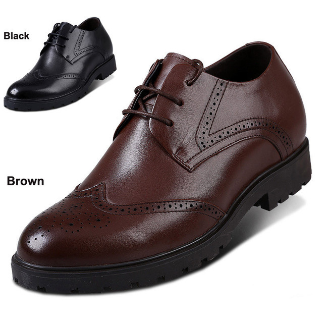 X7985 New Brand Men's Oxford Brogues Dress Leather Height Shoes in Hidden Increaser Grow Man Taller 6cm Color Black/Brown