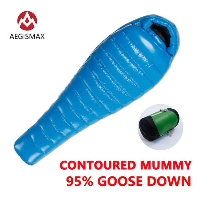 AEGISMAX Открытый Кемпинг G1 95% гусиный Подпушка Мумия спальный мешок три сезона Подпушка удлиняется взрослых нейлон спальный мешок ленивый сумка