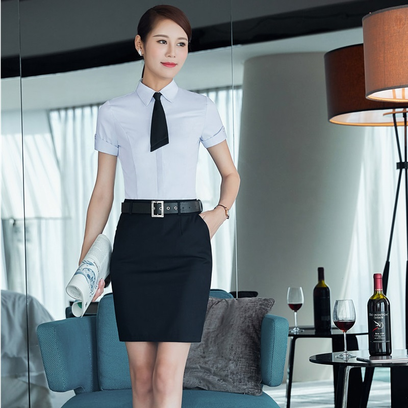Summer Short Sleeve Office Work Wear Suits With 2 Piece Tops And Skirt Ladies Formal Outfits Beauty Salon Uniforms Plus Size 3XL