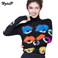 HziriP Knitted Sweaters 2017 Autumn Women Solid Thick Turtleneck Long Sleeve Slim Fit Warm Pullovers Female