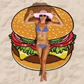 150cm Round Beach Towel 2016 Hot Hamburger Printed Thin Chiffon Beach Round Towels Scarf Boho Cloak Mat Swimwear 9909