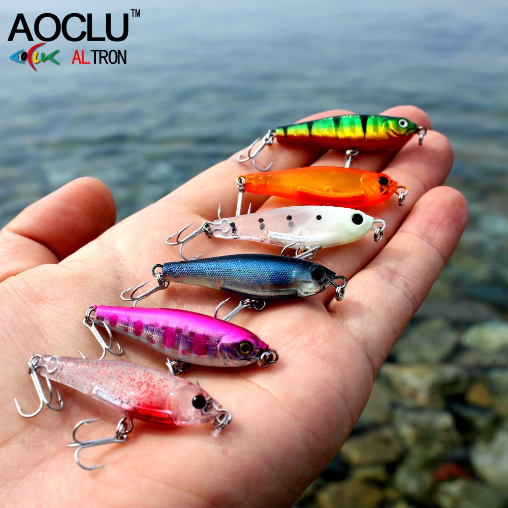 AOCLU VMC Hooks Stick Salt Popper Fishing 38mm Water-14 Crank Minnow Lures-Bass Hard-Bait
